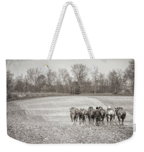 Team Of Six Horses Tilling The Fields Weekender Tote Bag