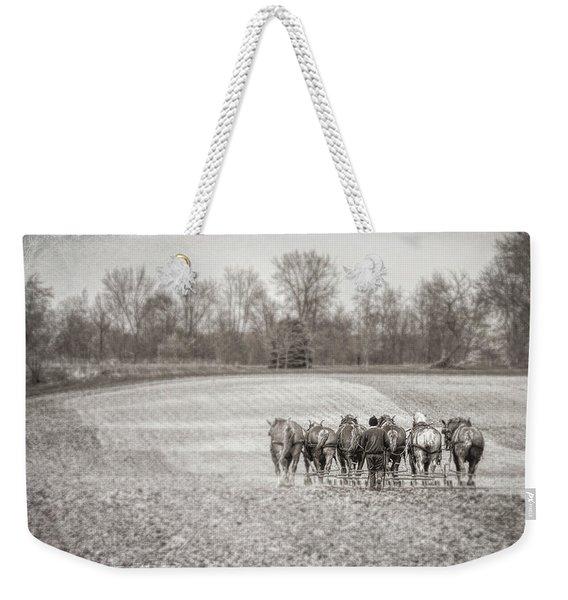 Team Of Six Horses Tilling The Fields Weekender Tote Bag