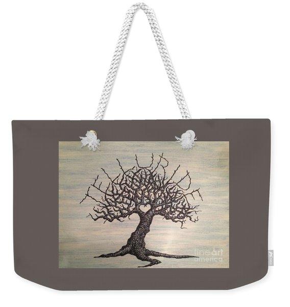 Weekender Tote Bag featuring the drawing Telluride Love Tree by Aaron Bombalicki