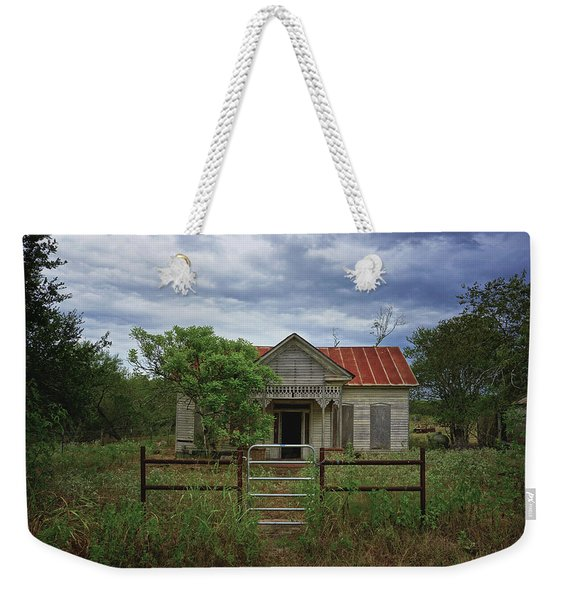 Texas Farmhouse In Storm Clouds Weekender Tote Bag