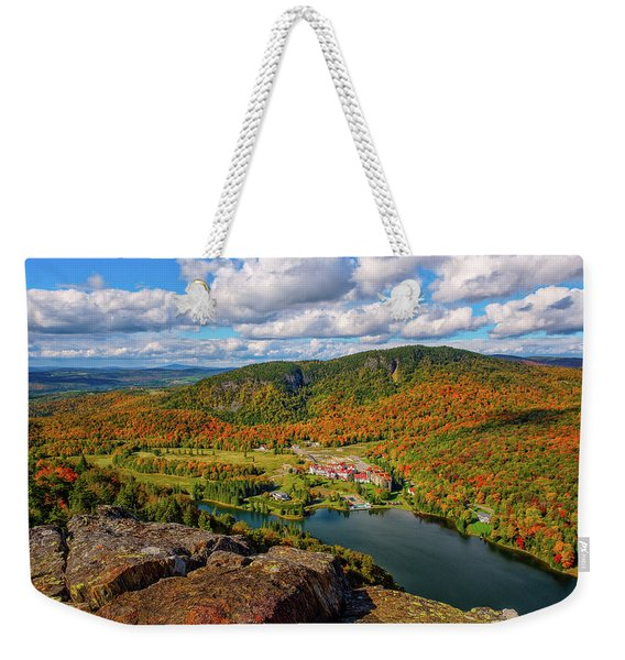 Weekender Tote Bag featuring the photograph The Balsams Resort Autumn. by Jeff Sinon