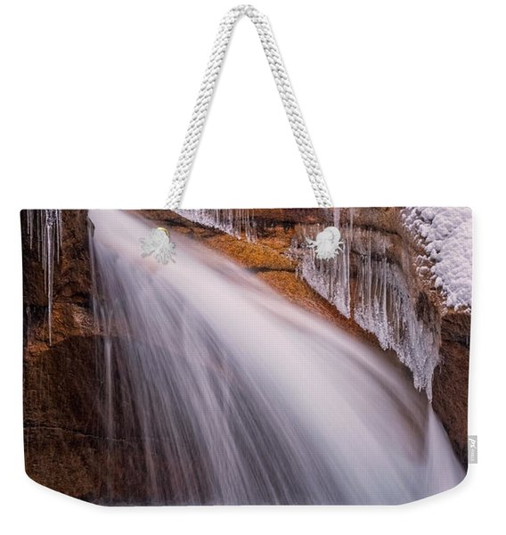 Weekender Tote Bag featuring the photograph The Basin, Close Up In A Winter Storm by Jeff Sinon
