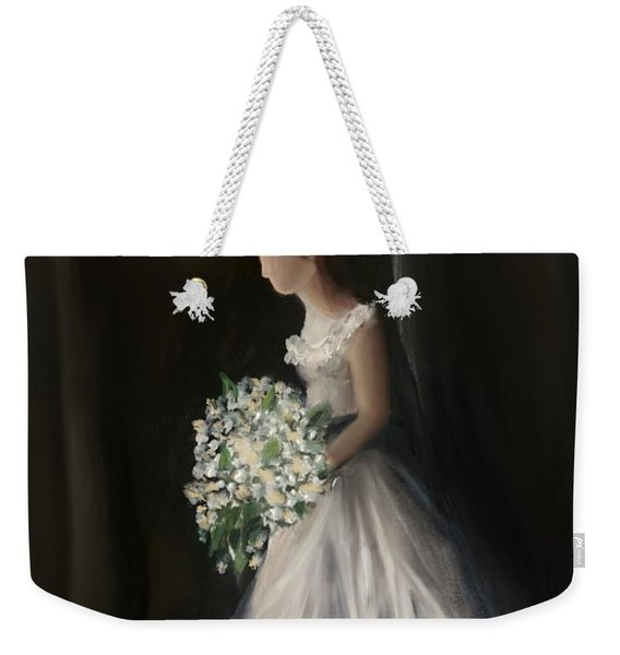 Weekender Tote Bag featuring the painting The Big Day by Fe Jones