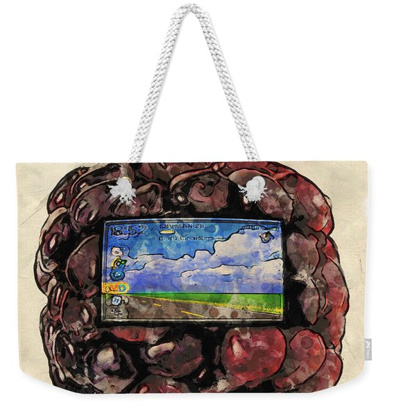 Weekender Tote Bag featuring the digital art The Blackberry Concept by ISAW Company