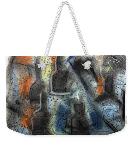 Weekender Tote Bag featuring the pastel The Bottle Attacks by Mark Jordan