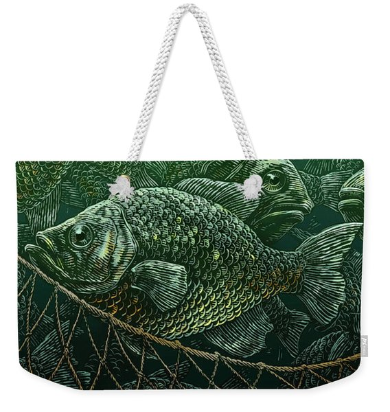 Weekender Tote Bag featuring the drawing The Catch by Clint Hansen