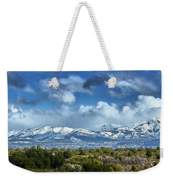 The City Of Bariloche And Landscape Of Snowy Mountains In The Argentine Patagonia Weekender Tote Bag