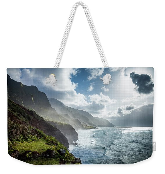 Weekender Tote Bag featuring the photograph The Cliffs Of Kalalau by Tim Newton