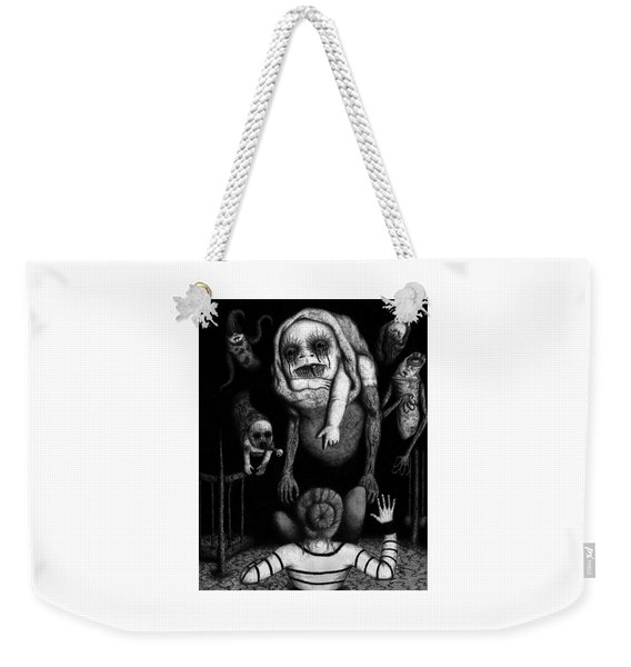 Weekender Tote Bag featuring the drawing The Corrupted - Artwork by Ryan Nieves