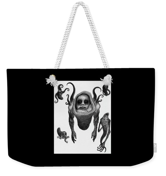 Weekender Tote Bag featuring the drawing The Corrupted Demon Profile - Artwork by Ryan Nieves
