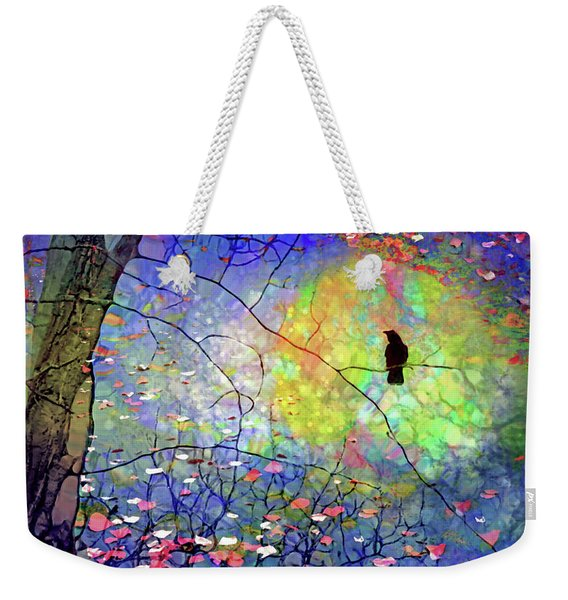 The Crow Tucks Its Silhouette Into The Glow Of The Moon Weekender Tote Bag