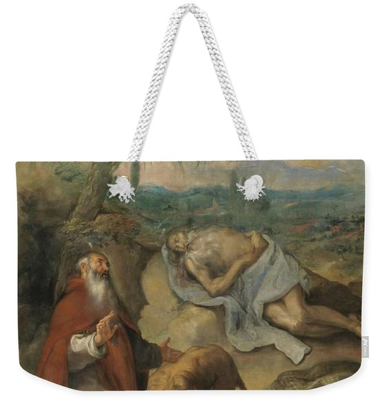 'the Death Of Saint Paul The Hermit'. Ca. 1649. Oil On Canvas. Anthony The Great. Weekender Tote Bag