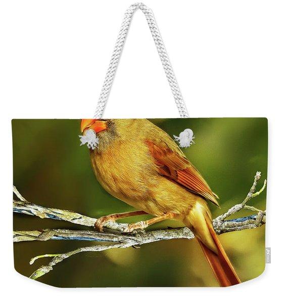The Female Cardinal Weekender Tote Bag