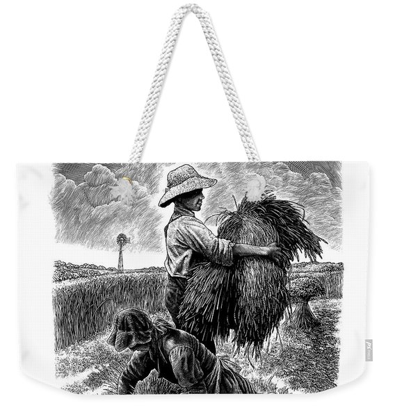 Weekender Tote Bag featuring the drawing The Harvesters - Bw by Clint Hansen