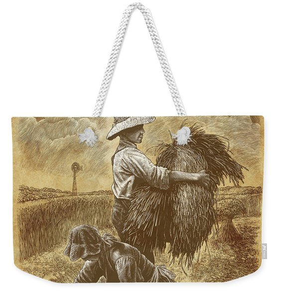 Weekender Tote Bag featuring the drawing The Harvesters by Clint Hansen