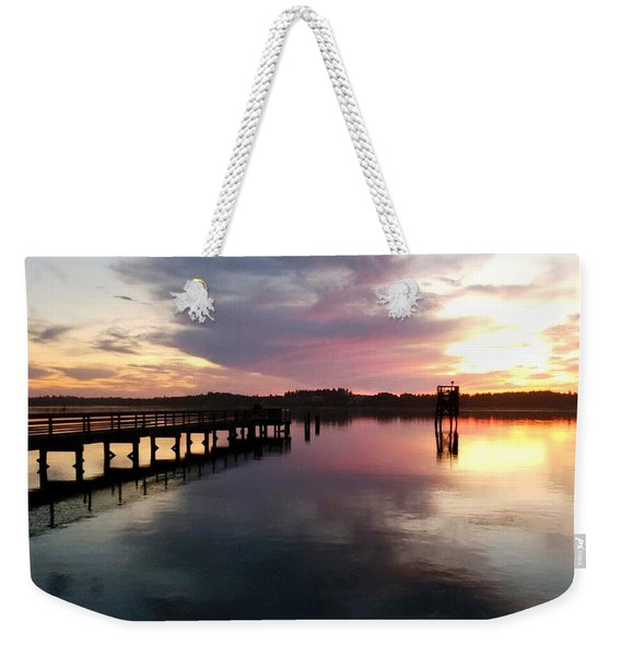 The Hollering Place Pier At Sunset Weekender Tote Bag