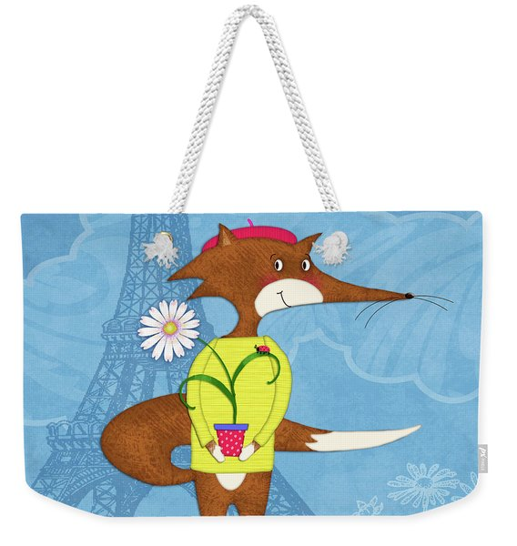 The Letter F For French Fox Weekender Tote Bag