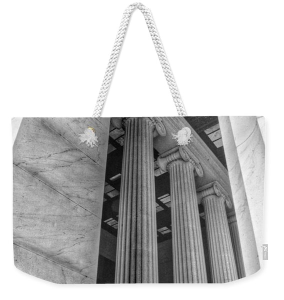 The Lincoln Memorial Washington D. C. - Black And White Abstract Pillars Details 3 Weekender Tote Bag