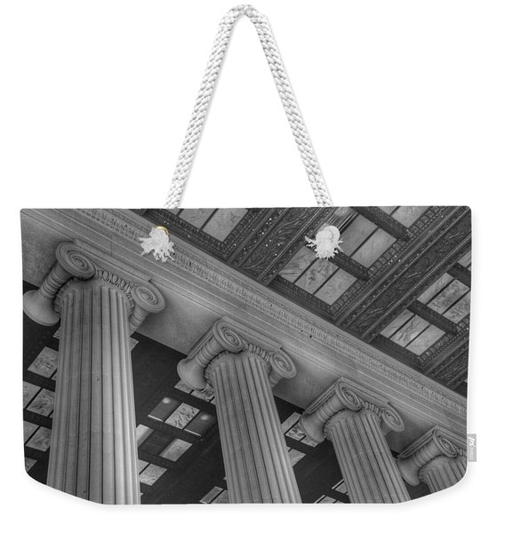 The Lincoln Memorial Washington D. C. - Black And White Abstract Pillars Details Weekender Tote Bag