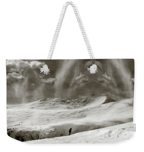 Weekender Tote Bag featuring the photograph The Lone Boarder - Duochrome by Wayne King