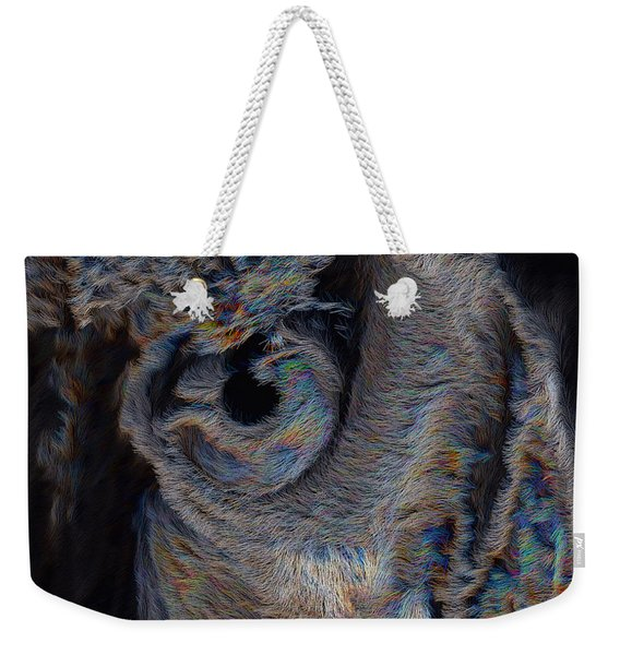 Weekender Tote Bag featuring the digital art The Old Owl That Watches by ISAW Company