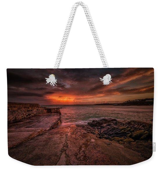 The Pier Sunset Weekender Tote Bag