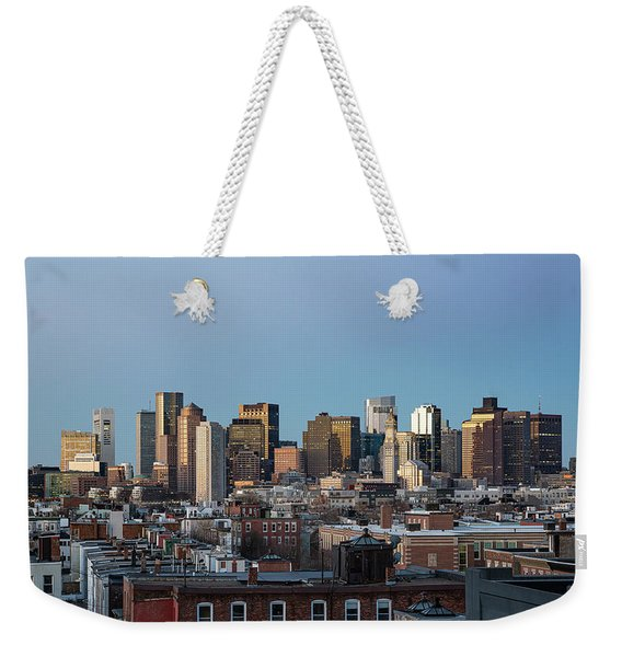 The Skyline Of Boston In Massachusetts, Usa On A Clear Winter Ev Weekender Tote Bag