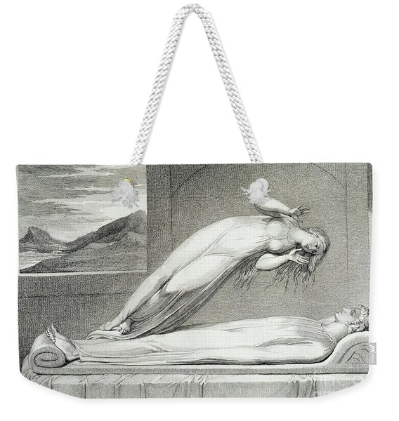 The Soul Hovering Over The Body Reluctantly Parting With Life Weekender Tote Bag