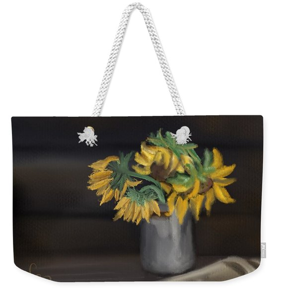 Weekender Tote Bag featuring the painting The Sun Flowers  by Fe Jones
