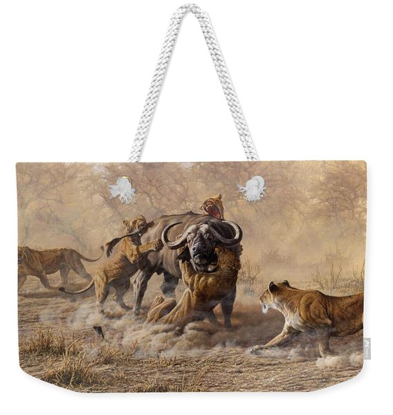 Weekender Tote Bag featuring the painting The Take Down - Lions Attacking Cape Buffalo by Alan M Hunt