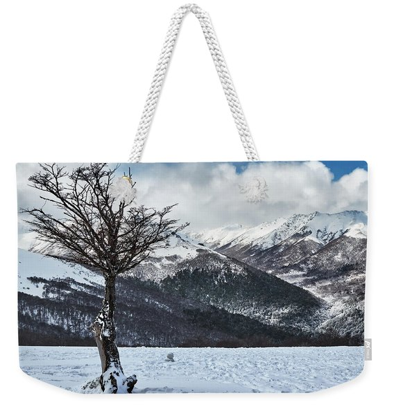 Dry Try On Frozen Mountainous Landscape In The Argentine Patagonia Weekender Tote Bag