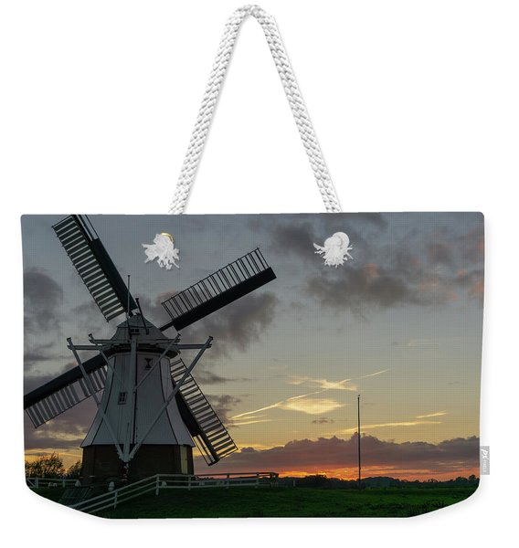 Weekender Tote Bag featuring the photograph The White Mill by Anjo Ten Kate