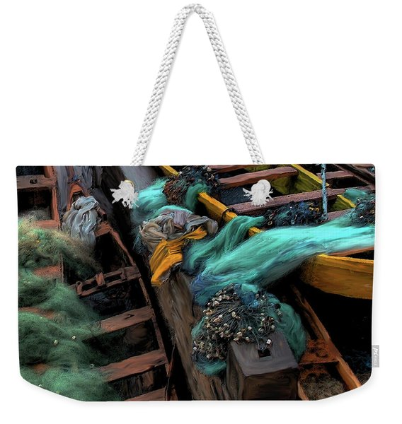 Weekender Tote Bag featuring the photograph The Yellow Boat by Wayne King