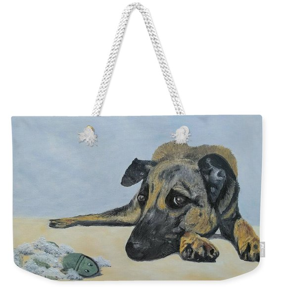 Weekender Tote Bag featuring the painting This Toy Is Defective by Kevin Daly