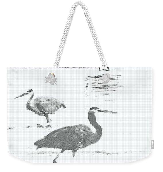 Three Blue Herons Weekender Tote Bag