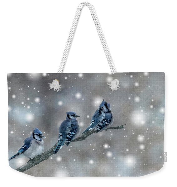 Three Blue Jays In The Snow Weekender Tote Bag