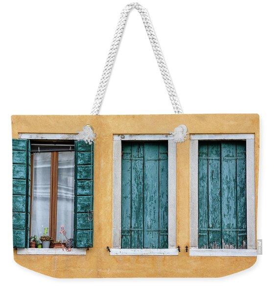 Three Green Windows Of Venice Weekender Tote Bag