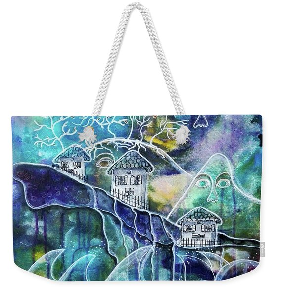 Three Houses On A Cliff Weekender Tote Bag