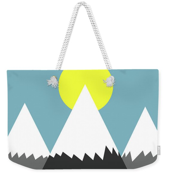 Weekender Tote Bag featuring the digital art Three Mountains And Sun by Clayton Bastiani