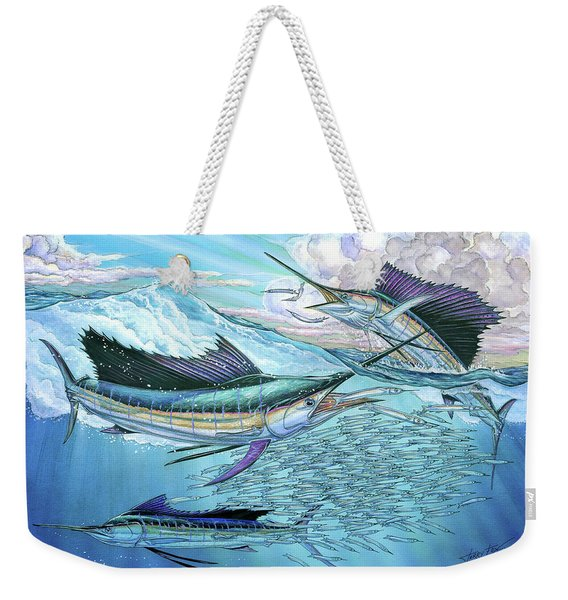Three Sailfish And Bait Ball Weekender Tote Bag