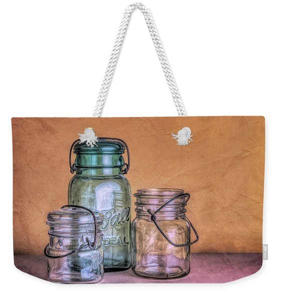 Three Vintage Ball Jars Weekender Tote Bag