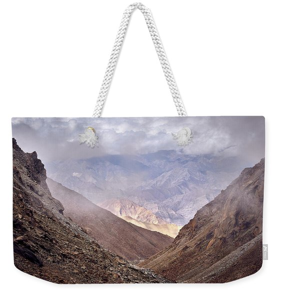 Weekender Tote Bag featuring the photograph Through The Valley by Whitney Goodey