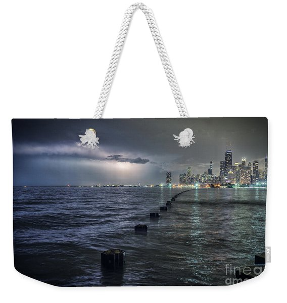 Thunder And Lightning In The Dark City Weekender Tote Bag