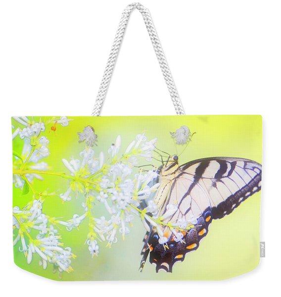 Tiger Swallowtail Butterfly On Privet Flowers Weekender Tote Bag