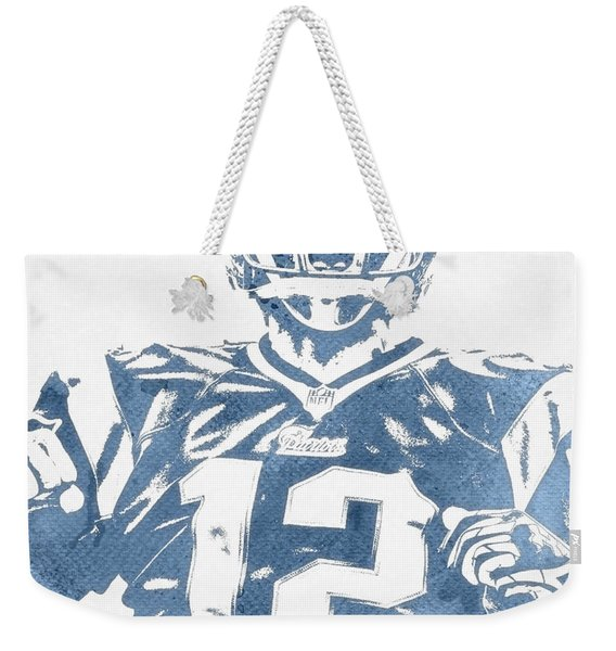 Tom Brady New England Patriots Water Color Pixel Art 31 Weekender Tote Bag