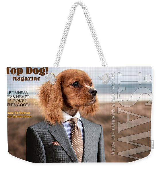 Weekender Tote Bag featuring the digital art Top Dog Magazine by ISAW Company