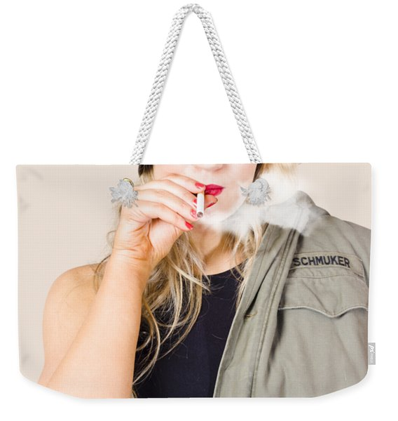 Tough And Determined Female Pin-up Soldier Smoking Weekender Tote Bag