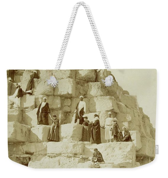 Tourists At The Great Pyramid Of Giza, 19th Century Weekender Tote Bag