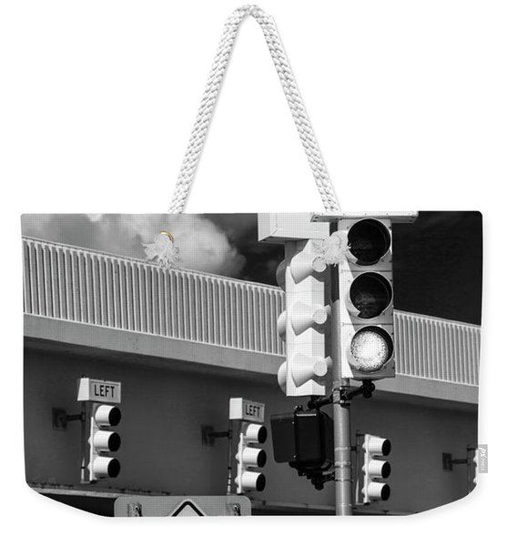 Traffic Lights And Left Turn Signal With Pedestrian Sign In Black And White Weekender Tote Bag