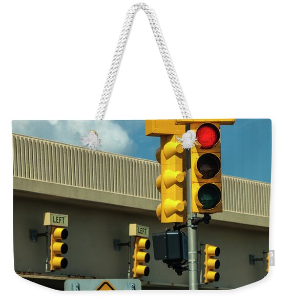 Traffic Lights And Left Turn Signal With Pedestrian Sign Weekender Tote Bag